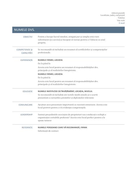 CV (proiect Timeless)
