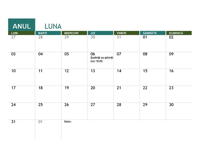 Calendar școlar (orice an)