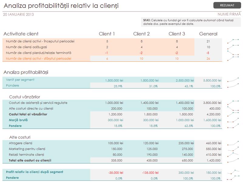 Analiza profitabilității relativ la clienți