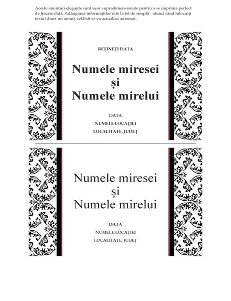 Anunț de nuntă (proiectare cu alb și negru pentru nunți)