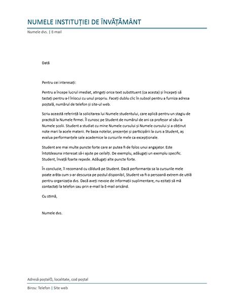 Scrisoare de referință de la un profesor