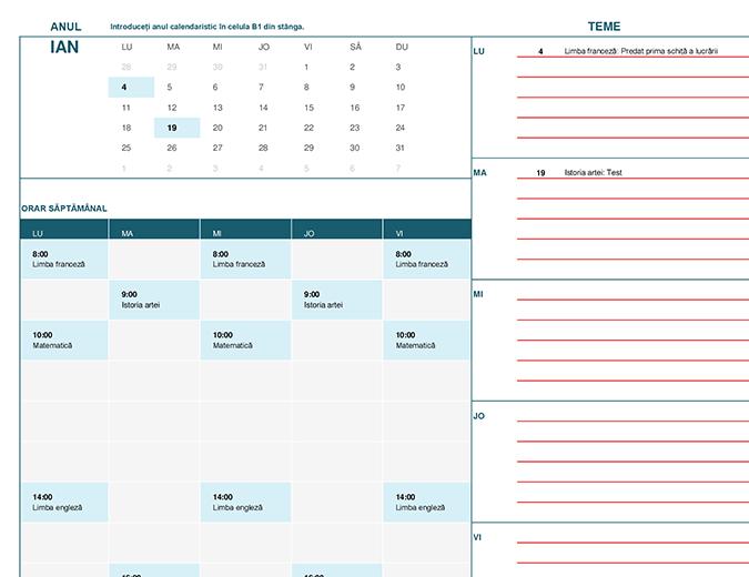 Calendar pentru elevi/studenți (Lun)