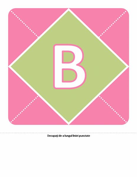 Banner Bun venit nou-născutei (roz, mov, verde)