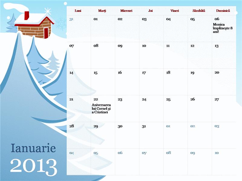 Calendar de sezon ilustrat 2013, Luni-Duminică