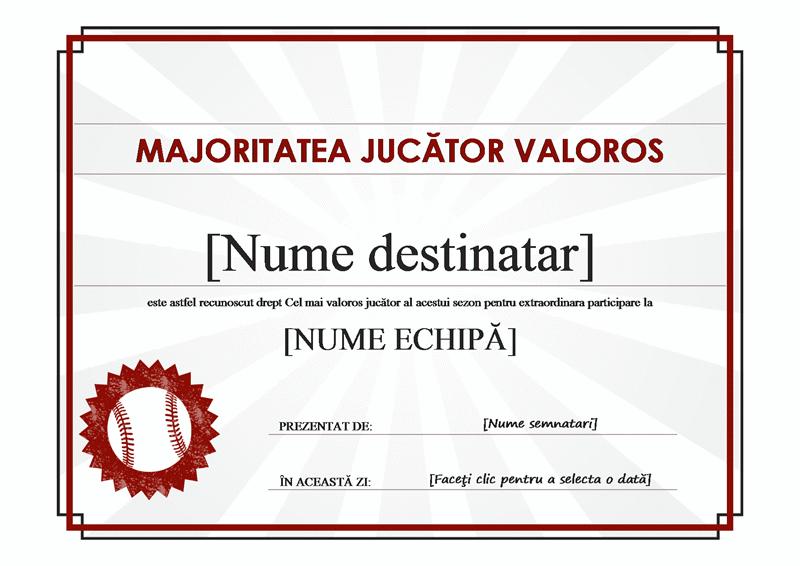 Certificat Cel mai bun jucător