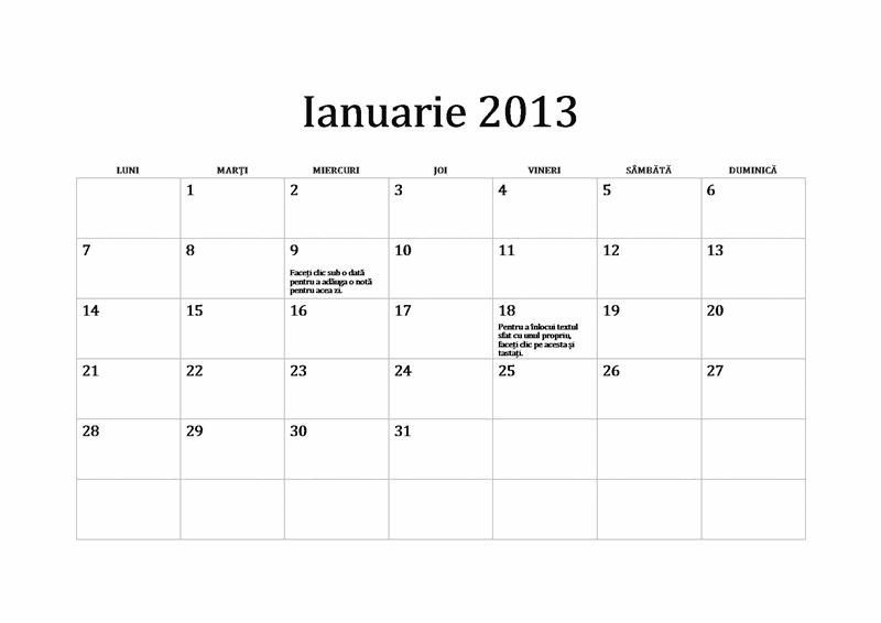 Calendarul clasic 2013 (de luni până duminică)
