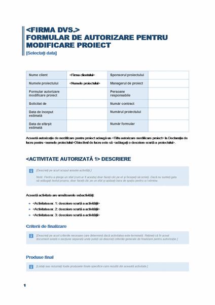 Formular de autorizare pentru o modificare de proiect