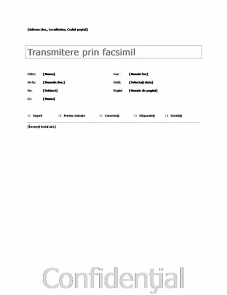 Pagină de însoțire fax simplă