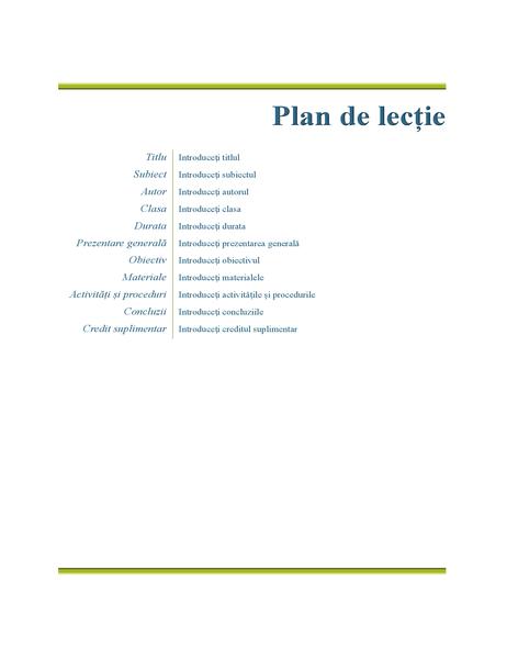 Planul de lecție al profesorului