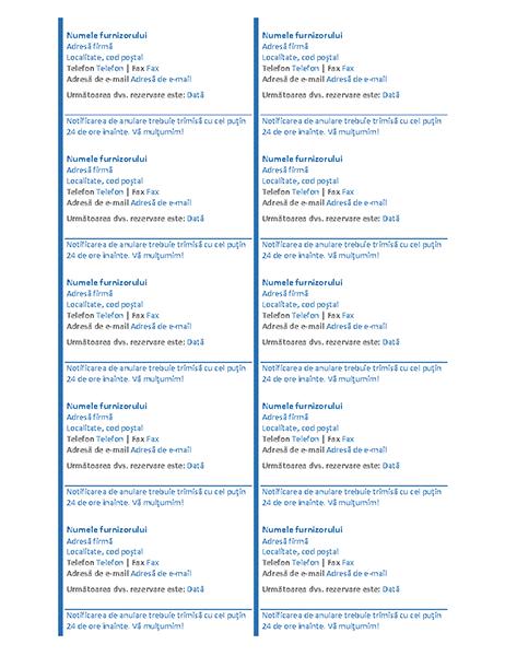 Fișe de rezervare (10 pe pagină)