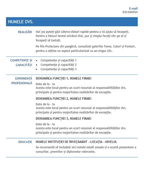 CV pentru transfer intern în cadrul firmei