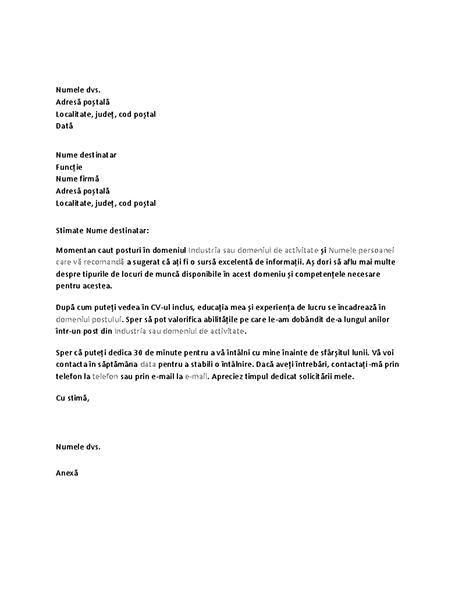 Scrisoare prin care se solicită un interviu de informare