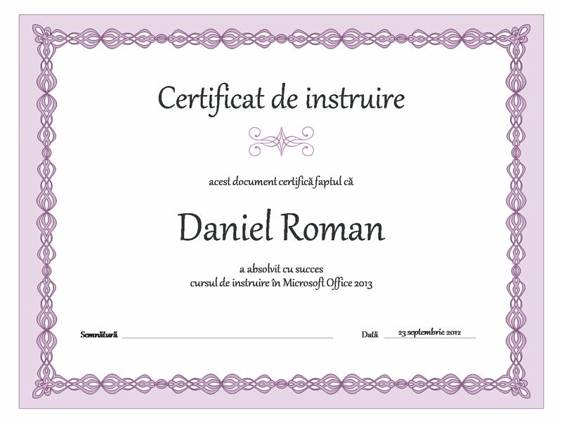 Certificat de instruire (proiectare cu bordură violet)
