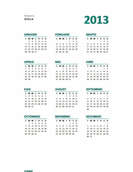 Calendar retrospectivă anuală 2013 (format L-D)