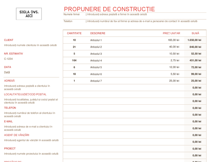 Propunere de construcție
