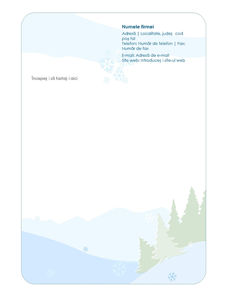 Antet de scrisoare Foaie de scris cu temă de iarnă