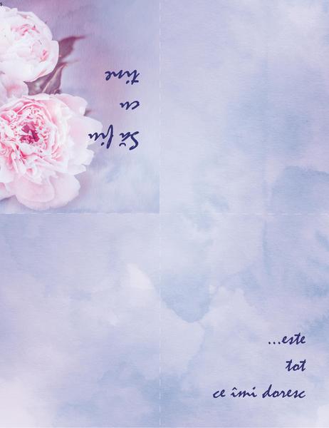 Felicitare romantică (cu trandafir, pliată în patru)