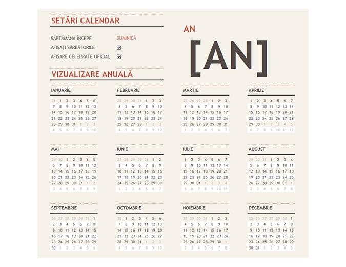 Calendar pentru orice an cu sărbători