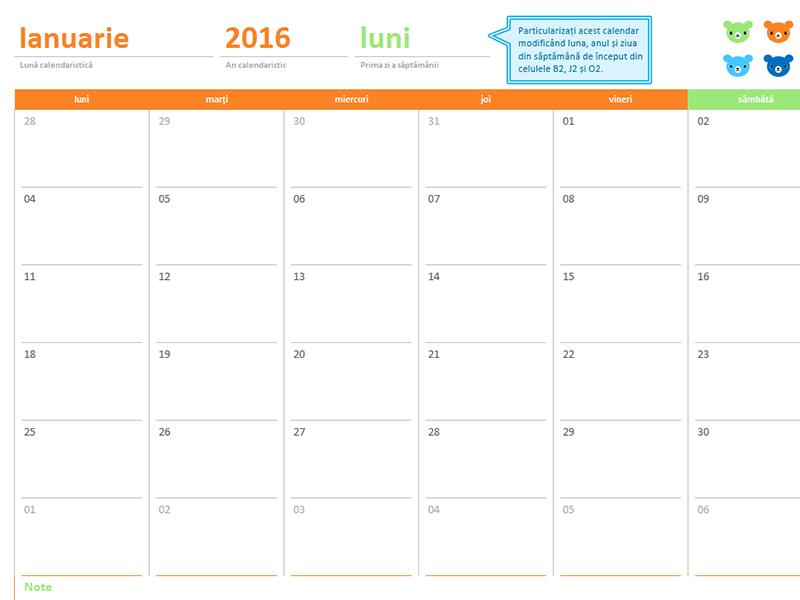 Calendar lunar pentru orice an (12 pagini, design cu urși și curcubeu)