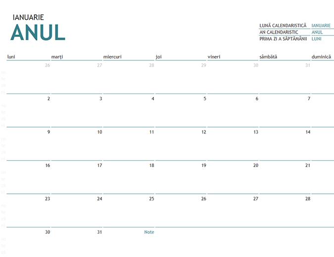 Calendar de o lună pentru orice an, cu note