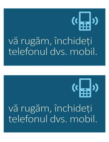 Anunț pentru interzicerea telefonului mobil (2 pe pagină)