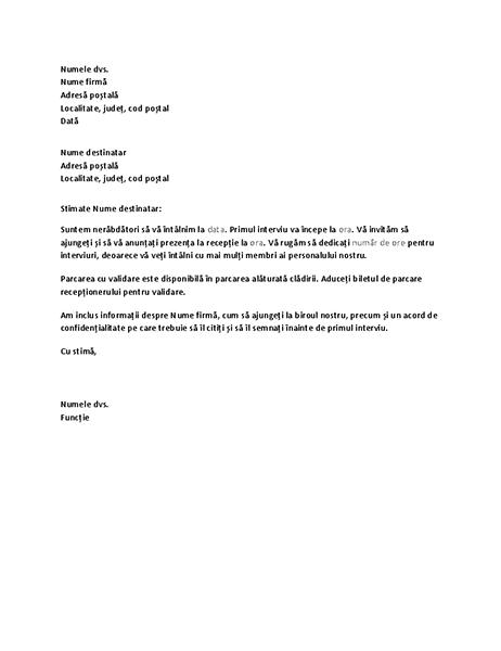 Scrisoare de confirmare a interviului candidatului pentru post