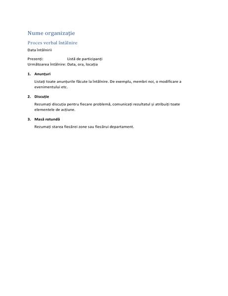 Procesele verbale de întâlnire (formular scurt)