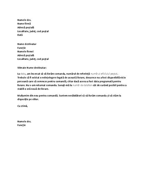 Scrisoare care îl notifică pe client că nu s-a efectuat livrarea