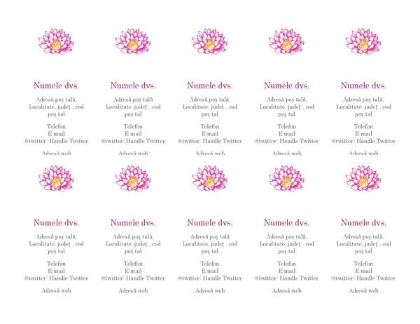 Cărți de vizită personale cu flori (verticale)