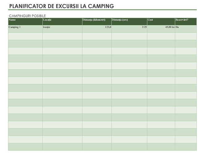 Planificator de excursii la camping