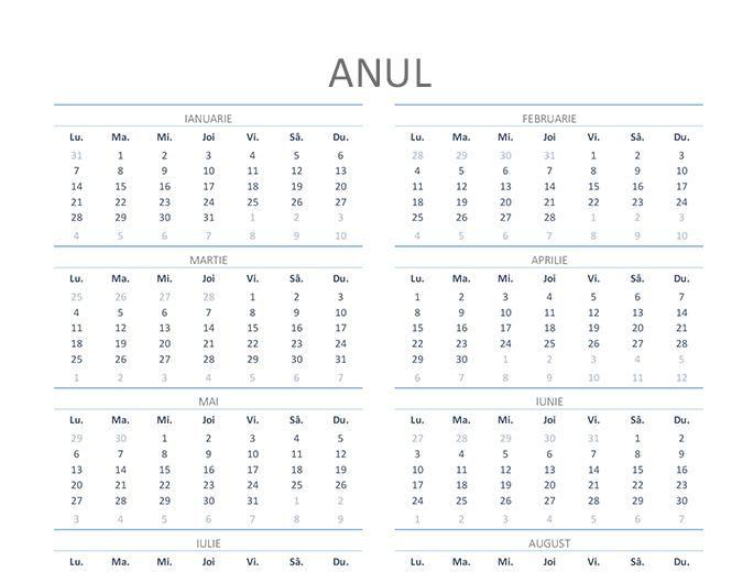 Calendar pentru orice an (luni-duminică)
