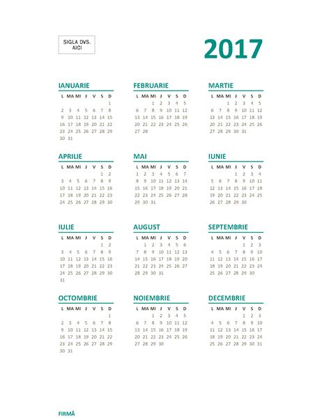 Calendar 2017 cu tot anul pe o pagină (l-d)