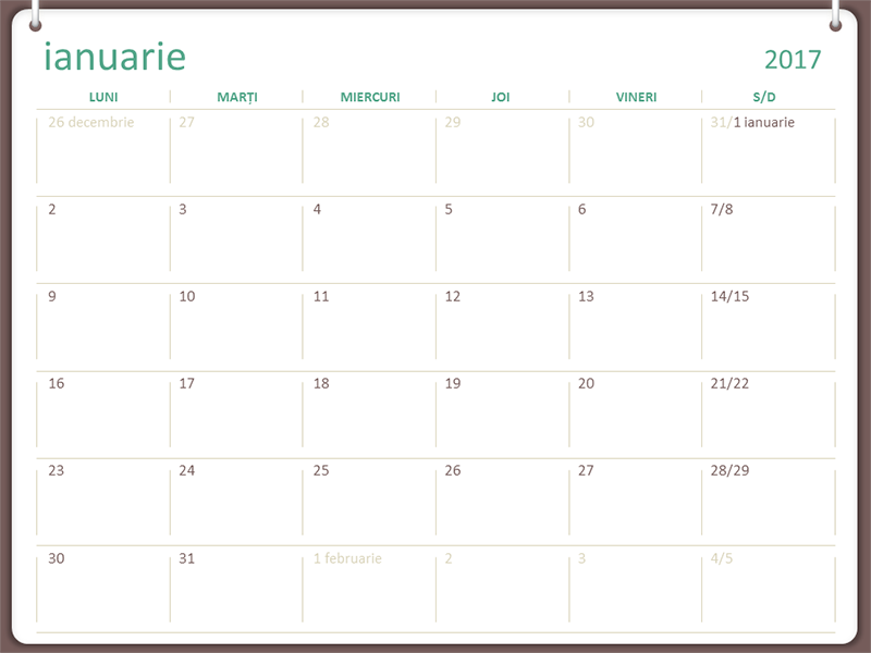 Calendar 2017 (l-d, proiect cu două inele)