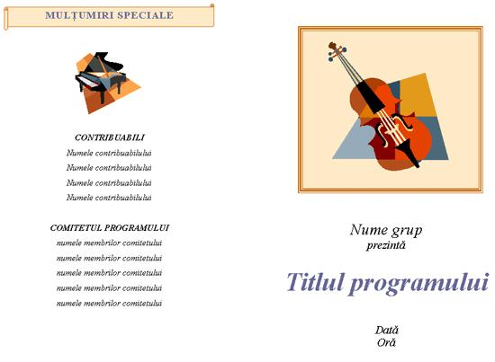 Program pentru un eveniment muzical