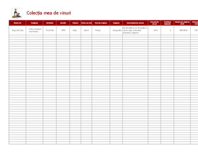 Listă colecție de vinuri