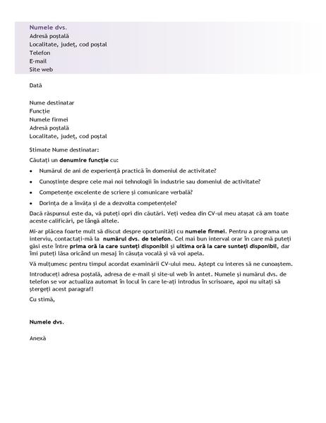 Scrisoare de intenție pentru un CV de începător