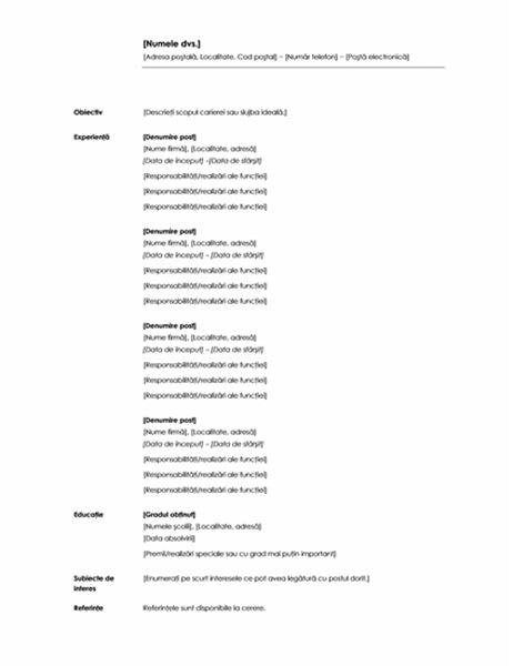 CV cronologic (Temă minimală)