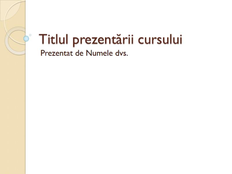 Prezentarea unui curs: General