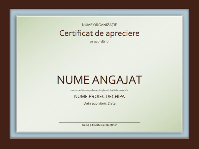 Certificat de apreciere