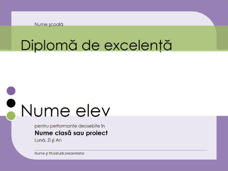Diplomă de excelență pentru un elev