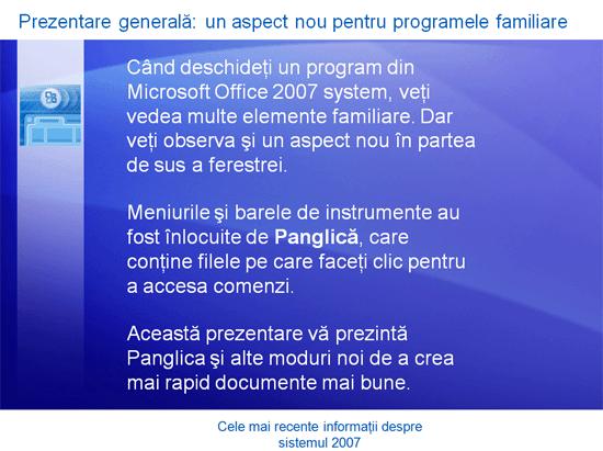 Prezentare de instruire: Microsoft Office – Cele mai recente informații despre sistemul 2007