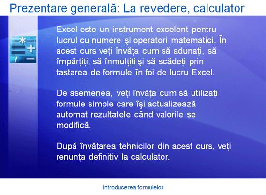 Prezentare de instruire: Excel 2007 - Introducerea formulelor