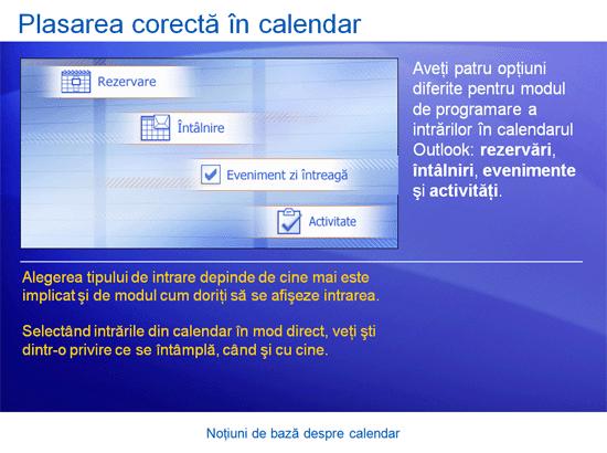Prezentare de instruire: Outlook 2007 – Noțiuni de bază despre calendar