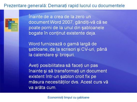 Prezentare de instruire: Word 2007 - Economisiți timpul cu șabloane