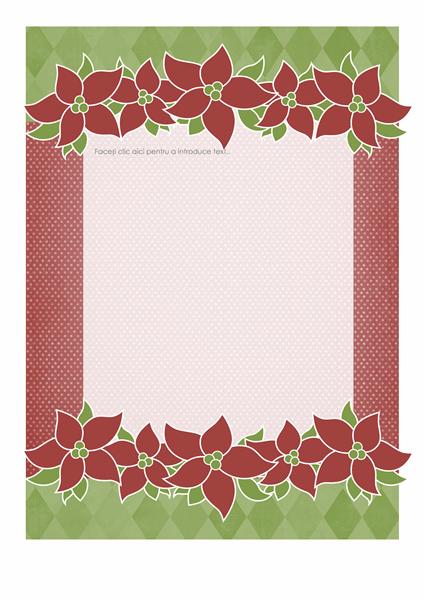 Foaie de scris de sărbători (Model Flori de Crăciun)