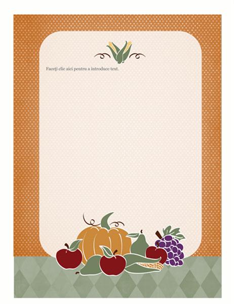 Foaie de scris (design cu recoltă)