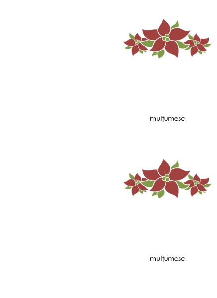 Carte poștală de mulțumire (model cu poinsetia)