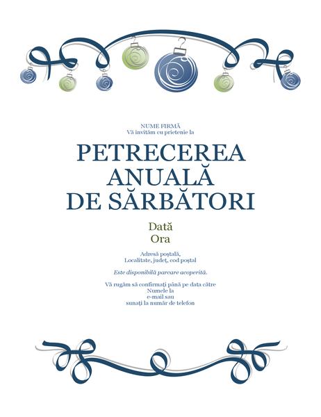 Invitație la petrecerea de sărbători cu ornamente albastre și verzi (model oficial)