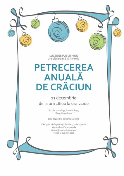 Invitație la petrecerea de sărbători cu ornamente albastre, verzi și galbene (model informal)