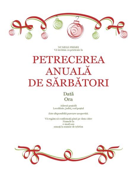 Invitație la petrecerea de sărbători, cu ornamente și panglică roșie (proiectare oficială)